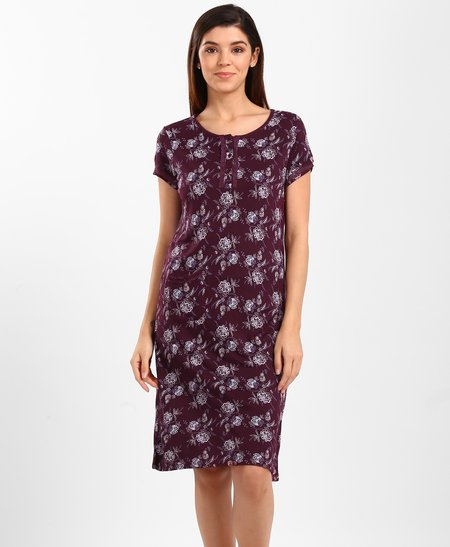 All Over Printed Short Night Gown