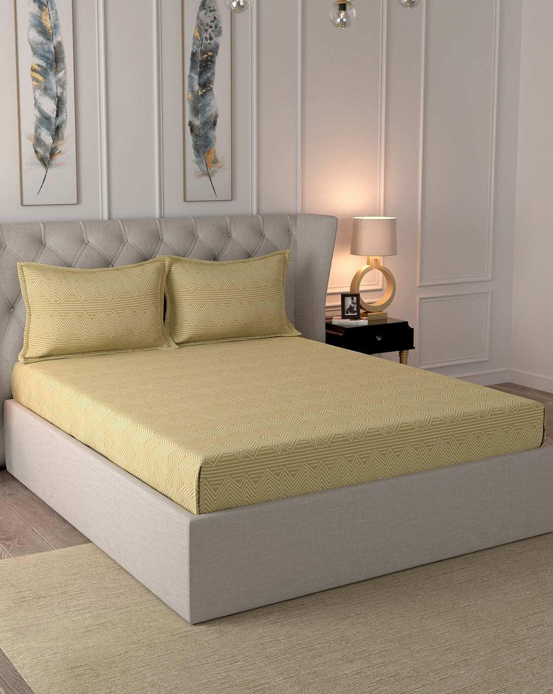 maspar inhouse craze 144tc cotton king bedsheet with 2 pillow covers