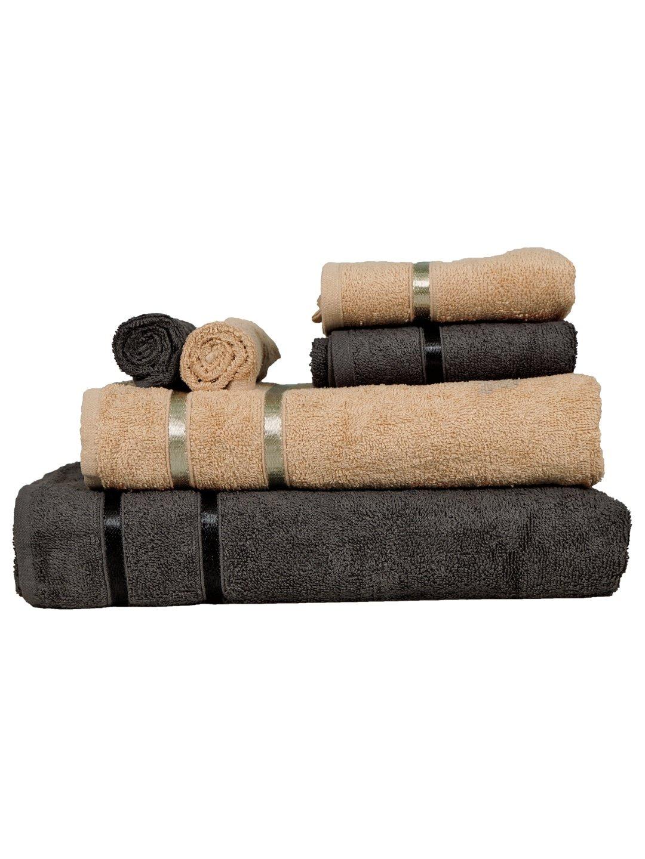 Set of 6 Beige & Charcoal 450 GSM Towels