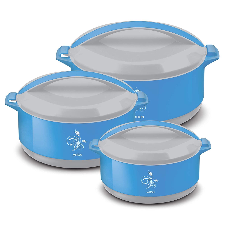 44% Off on MILTON Divine Jr Inner Steel Casserole Gift Set of 3, Blue, Contemporary