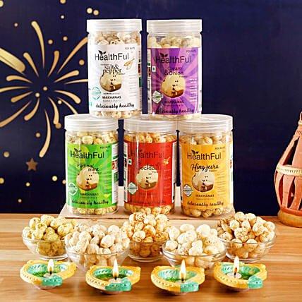 happy Diwali fox assorted nuts & diyas combo