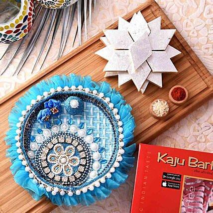 Diwali offers: beautiful blue pooja thali with Kaju katli combo
